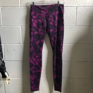 Lululemon purple & black full length leggings sz 8